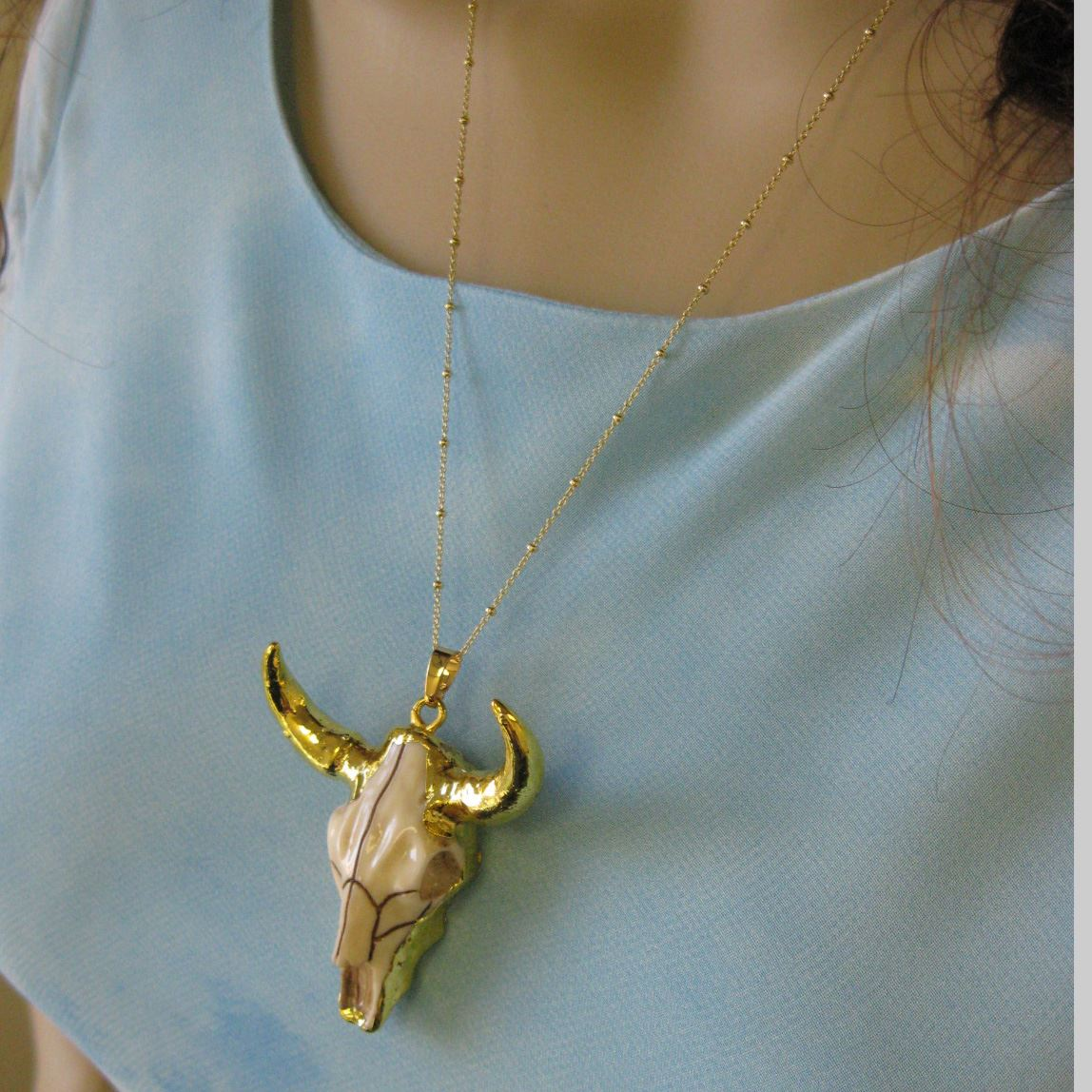 Gold Dipped Cattle Skull Necklace - Gold plated Sterling Silver Beaded Necklace Chain - Longhorn Skull Necklace
