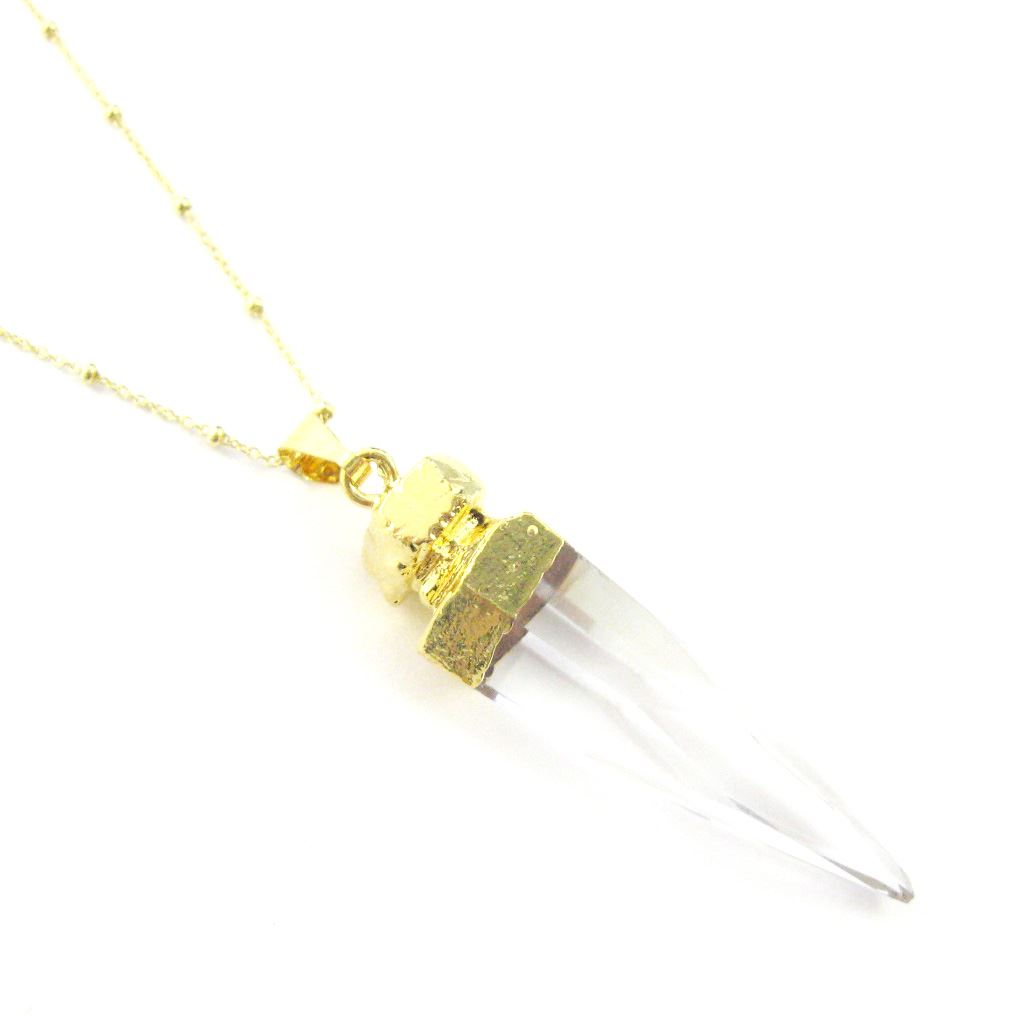 Crystal Quartz Spike Necklace - Crystal Point Pendulum Necklace - Gold plated Sterling Silver Beaded Necklace Chain