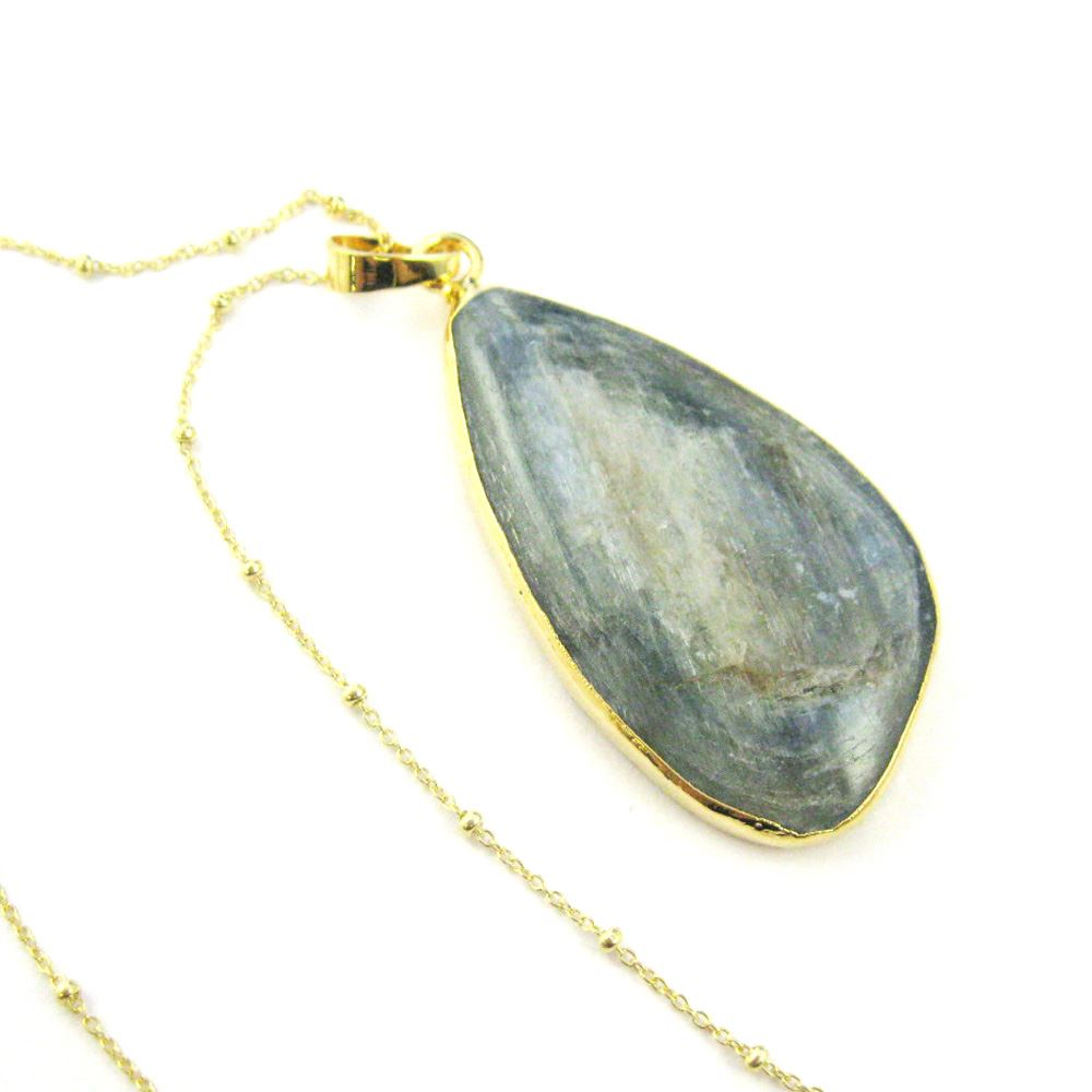 Kyanite Pendant Necklace - Organic Oval Shape Natural Kyanite Necklace - Gold plated Sterling Silver Beaded Necklace Chain