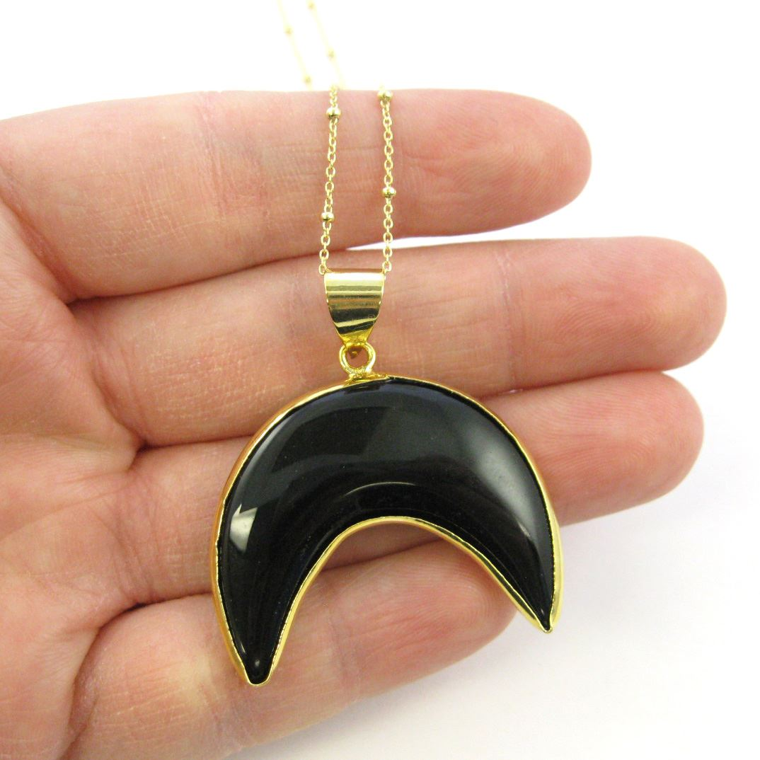 Black Agate Crescent Necklace - Natural Black Agate Arch Necklace - Gold plated Sterling Silver Beaded Necklace Chain