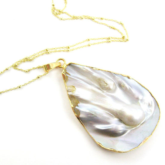 Mother of Pearl Necklace - Natural Mother of Pearl Organic Oval Necklace - Gold plated Sterling Silver Beaded Necklace Chain