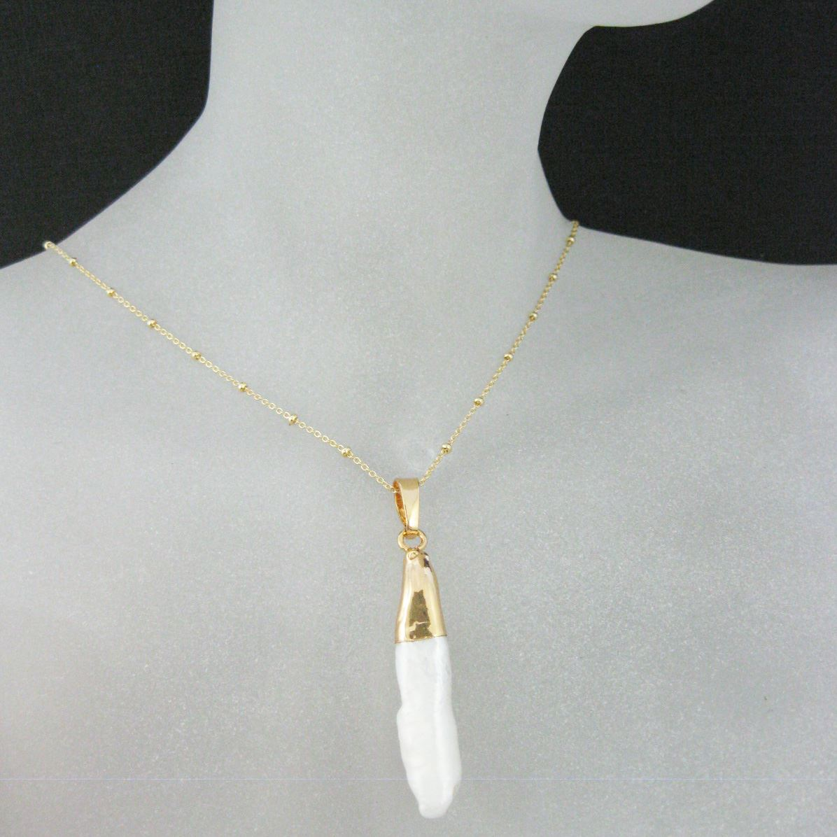 Mother of Pearl Necklace - Natural Mother of Pearl Elongated Pendant Necklace-Gold plated Sterling Silver Beaded Necklace Chain