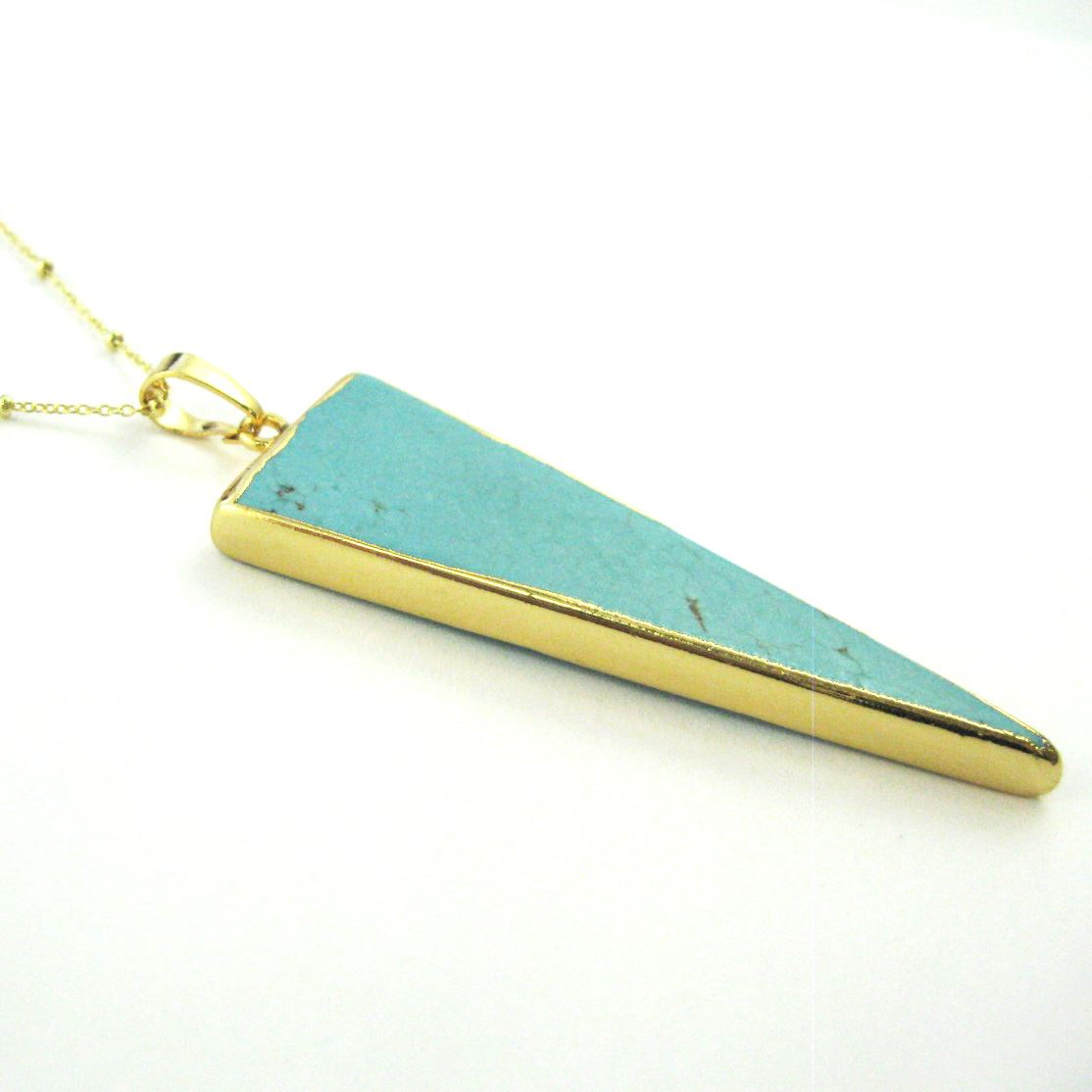 Turquoise Spike Pendant Necklace -Turquoise Triangle and Gold Necklace - Gold plated Sterling Silver Beaded Necklace Chain