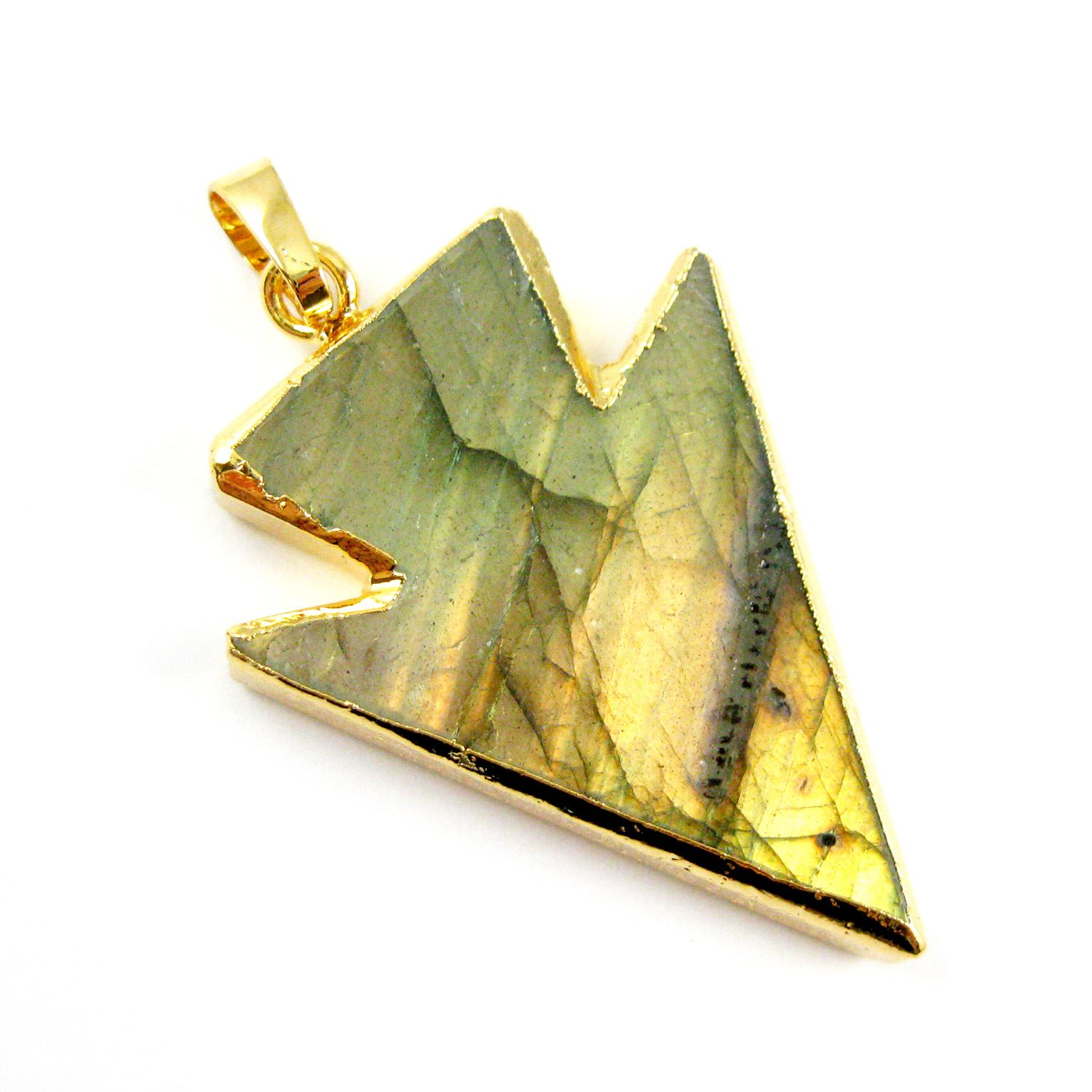 Labradorite Arrowhead Spike Pendant Necklace -Laradorite and Gold Necklace - Gold plated Sterling Silver Beaded Necklace Chain