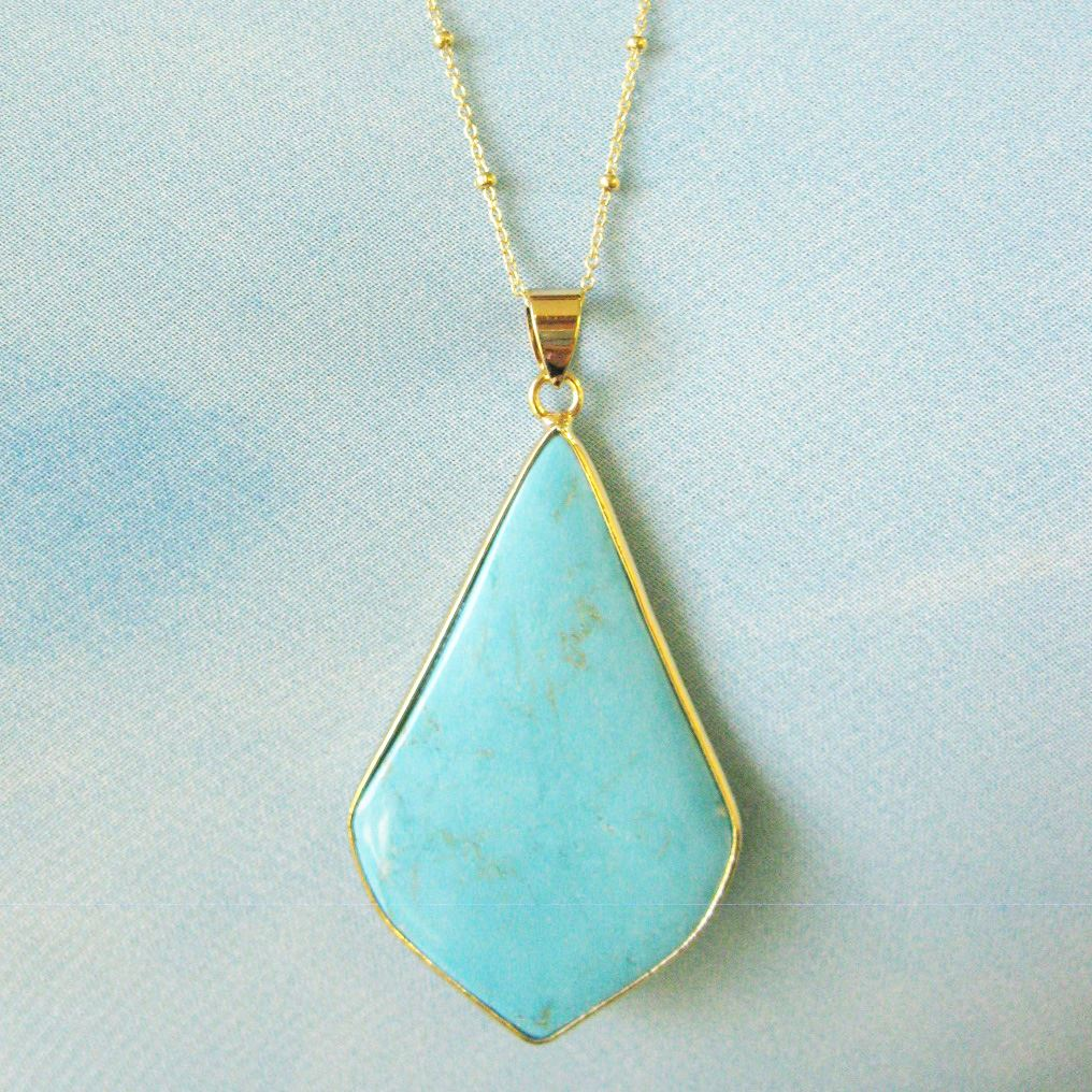 Turquoise Elongated Diamond Shape Pendant Necklace-Turquoise and Gold Necklace-Gold plated Sterling Silver Beaded Necklace Chain