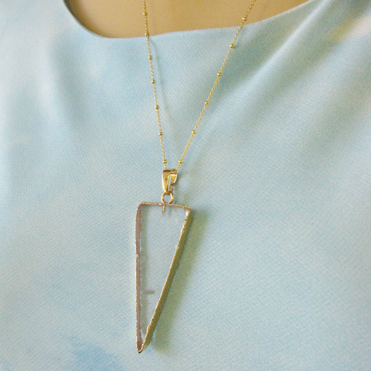 Crystal Spike Pendant Necklace -Crystal Triangle and Gold Necklace - Gold plated Sterling Silver Beaded Necklace Chain
