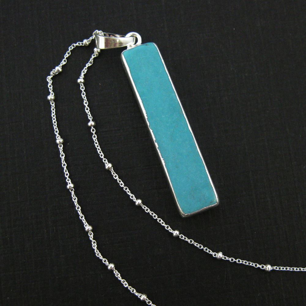 Turquoise Bar Pendant Necklace -Long Turquoise Bar and Silver Necklace - Sterling Silver Beaded Necklace Chain