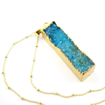 Druzy Gem Bar Pendant Necklace - Blue Druzy Agate Long Bar and Gold Necklace - Gold plated Sterling Silver Beaded Necklace Chain