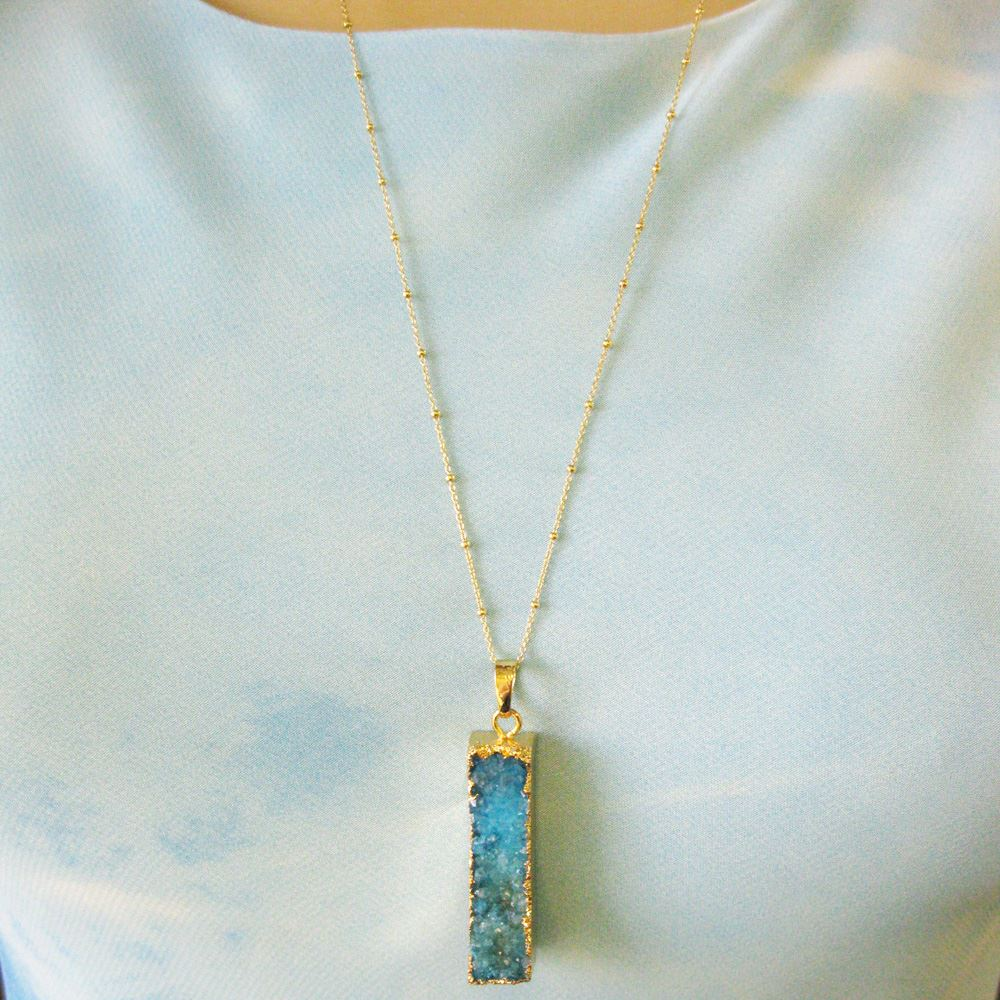 Druzy Gem Bar Pendant Necklace - Green Druzy Agate Long Bar and Gold Necklace - Gold plated Sterling Silver Beaded Necklace Chain