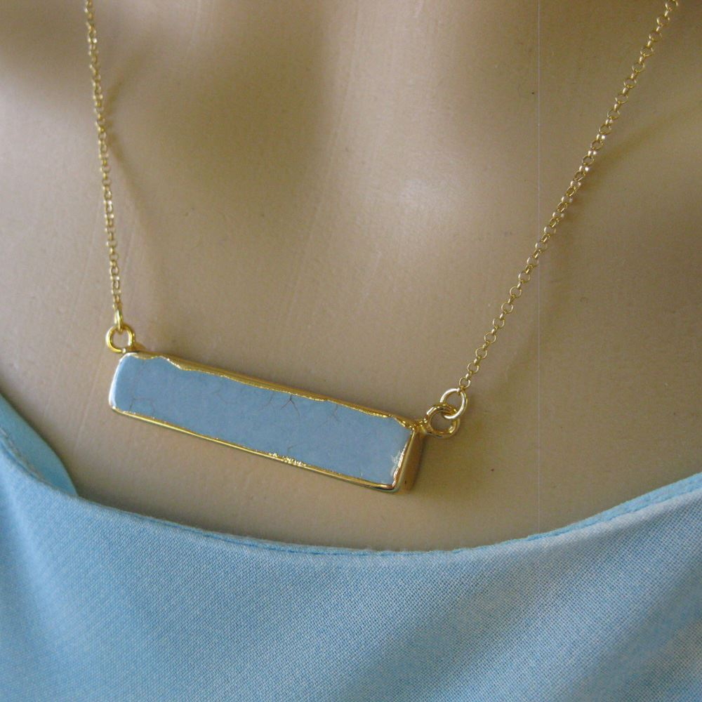 Turquoise Bar Pendant Necklace -Long Horizontal Bar and Gold Necklace - Gold plated Sterling Silver Necklace Chain