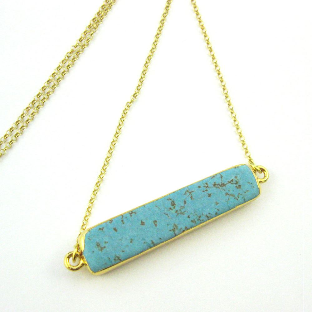 Turquoise Bar Pendant Necklace-Long Horizontal Connector Bar and Gold Necklace-Gold plated Sterling Silver Necklace Chain