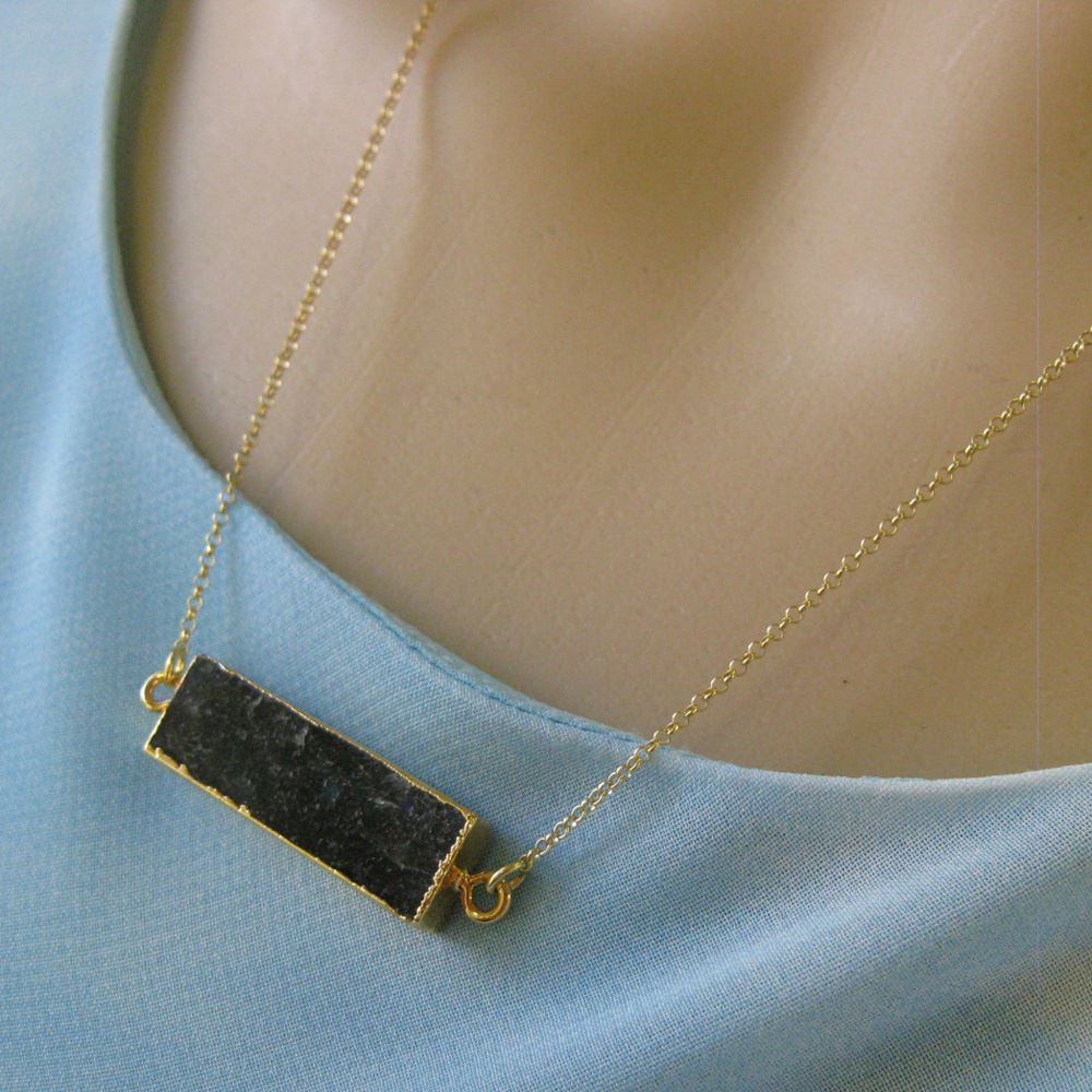 Labradorite Bar Pendant Necklace-Long Horizontal Connector Bar Necklace-Gold plated Sterling Silver Necklace Chain