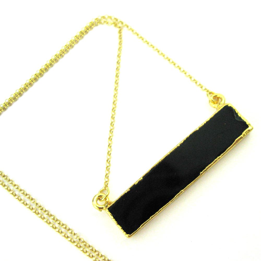 Black Agate Bar Pendant Necklace -Long Horizontal Bar and Gold Necklace - Gold plated Sterling Silver Necklace Chain