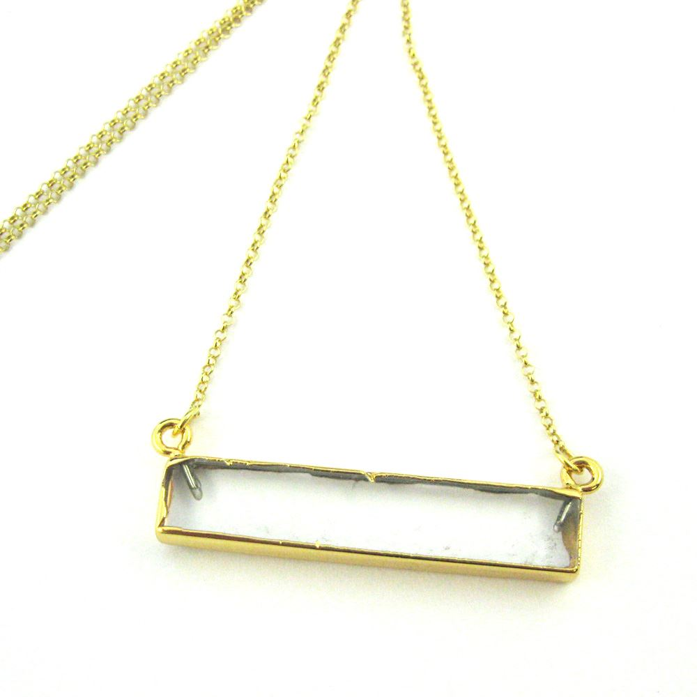Crystal Bar Pendant Necklace -Long Horizontal Crystal Gem Bar and Gold Necklace - Gold plated Sterling Silver Necklace Chain