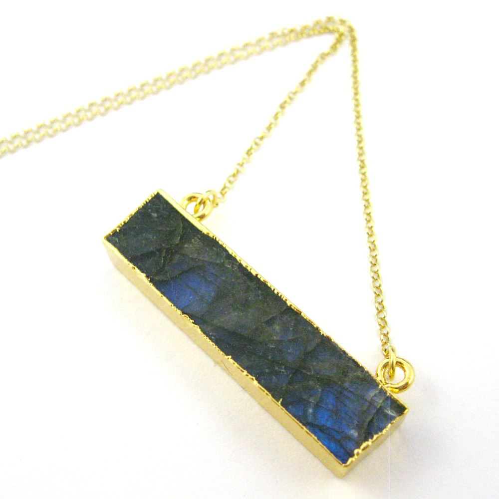 Labradorite Bar Pendant Necklace-Long Horizontal Bar Necklace-Gold plated Sterling Silver Necklace Chain