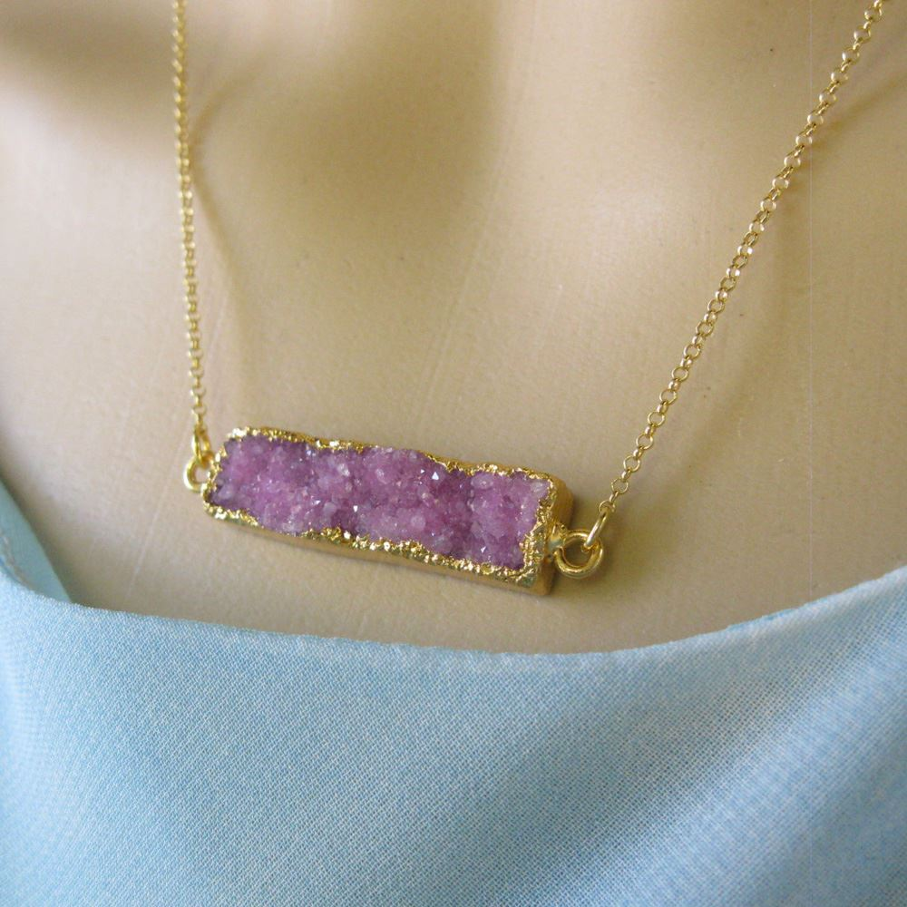 Druzy Bar Pendant Necklace -Pink Druzy -  Horizontal Druzzy Gem Bar Necklace - Druzy Agate - Gold plated Sterling Silver Necklace Chain