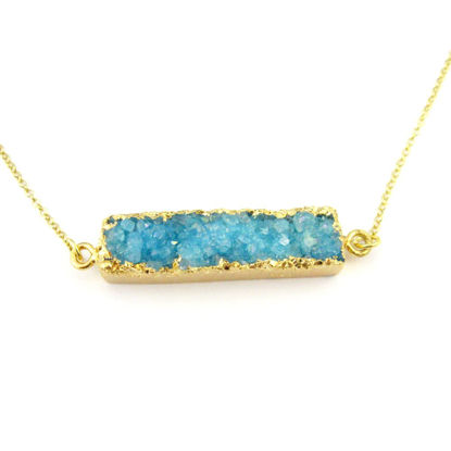 Druzy Bar Pendant Necklace -Blue Druzy -  Horizontal Druzzy Gem Bar Necklace - Druzy Agate - Gold plated Sterling Silver Necklace Chain