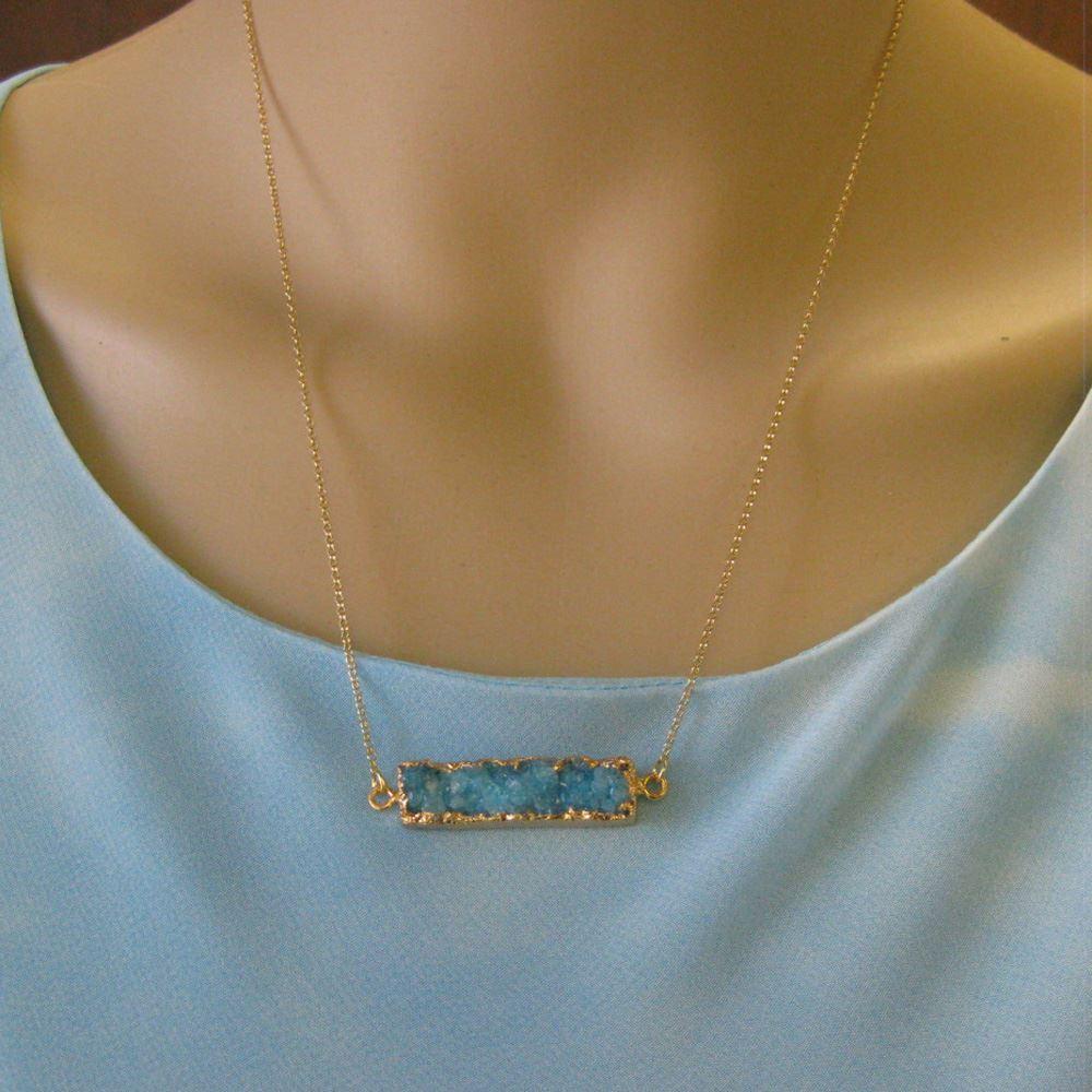 Druzy Bar Pendant Necklace -Blue Druzy -  Horizontal Druzzy Gem Bar Necklace - Druzy Agate - Gold plated Sterling Silver Necklace Chain