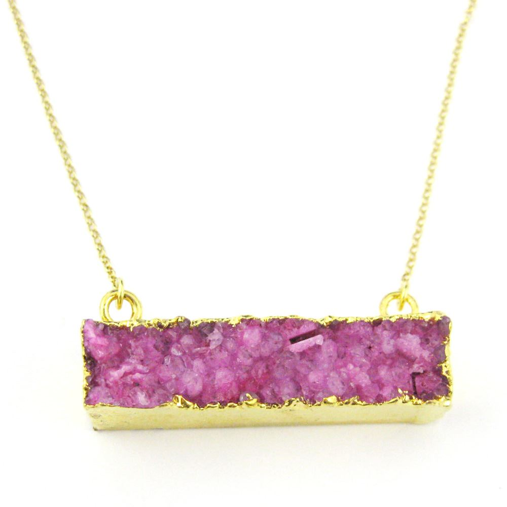 Druzy Gem Bar Pendant Necklace - Pink Druzy - Druzzy Agate Horizontal Bar and Gold Necklace - Gold plated Sterling Silver Necklace Chain