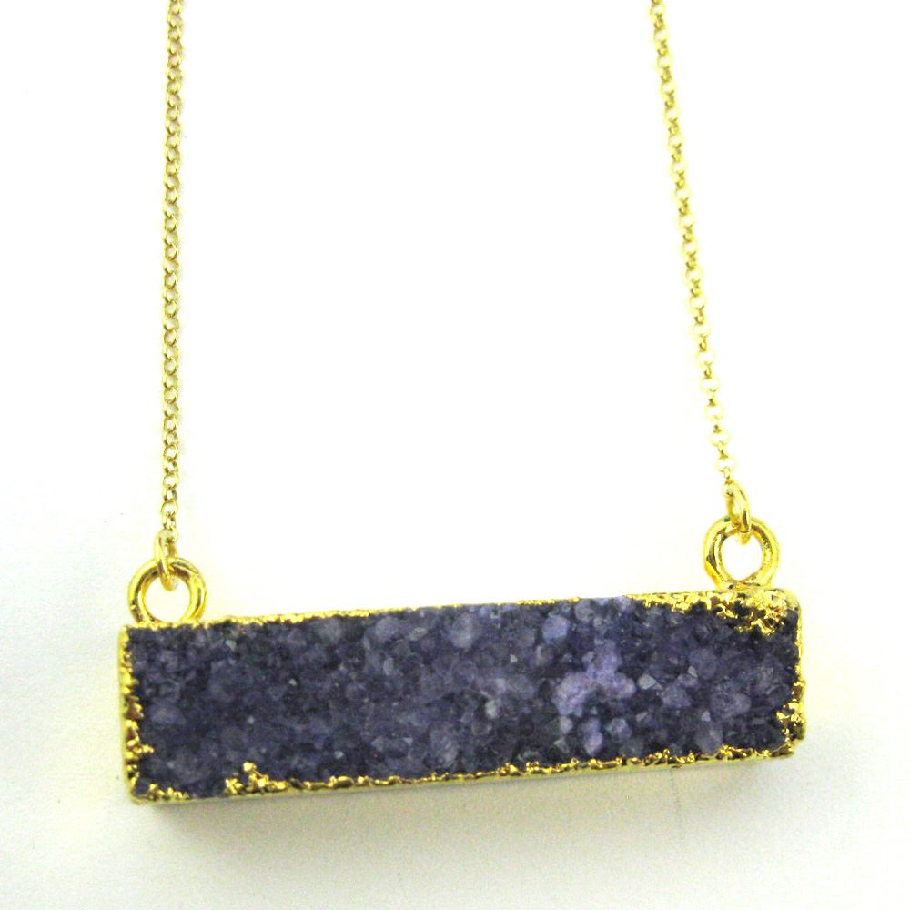 Druzy Gem Bar Pendant Necklace - Purple Druzy - Druzzy Agate Horizontal Bar and Gold Necklace - Gold plated Sterling Silver Necklace Chain