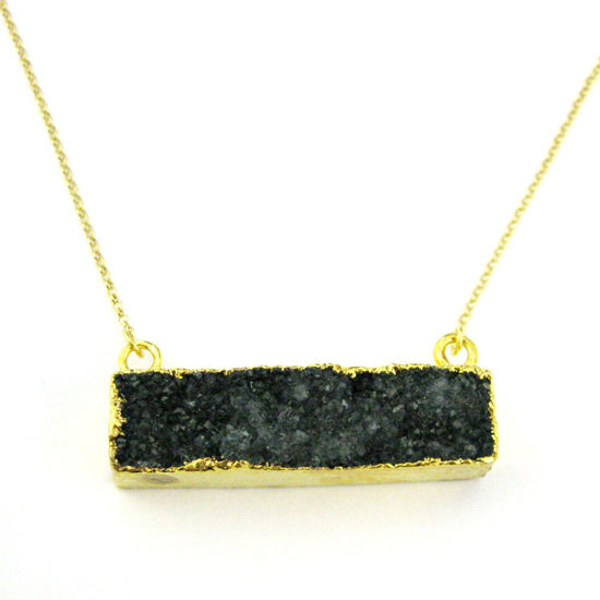 Druzy Gem Bar Pendant Necklace - Black Druzy - Druzzy Agate Horizontal Bar and Gold Necklace - Gold plated Sterling Silver Necklace Chain