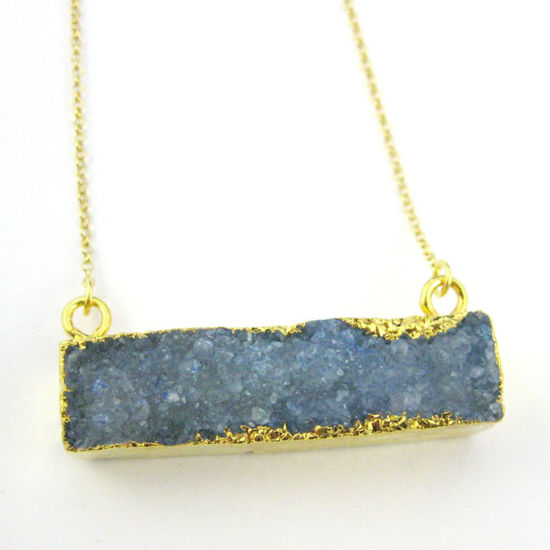 Druzy Gem Bar Pendant Necklace - Blue Druzy - Druzzy Agate Horizontal Bar and Gold Necklace - Gold plated Sterling Silver Necklace Chain