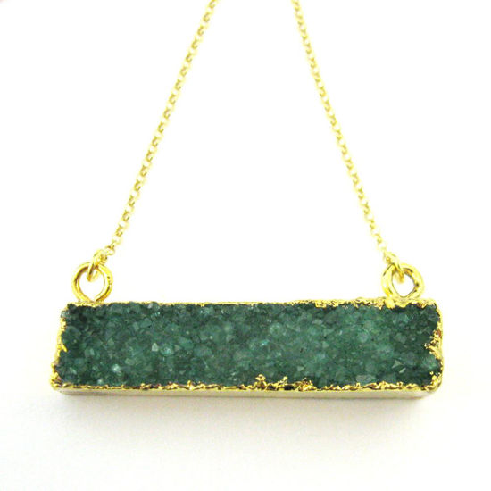Druzy Gem Bar Pendant Necklace - Green Druzy - Druzzy Agate Horizontal Bar and Gold Necklace - Gold plated Sterling Silver Necklace Chain