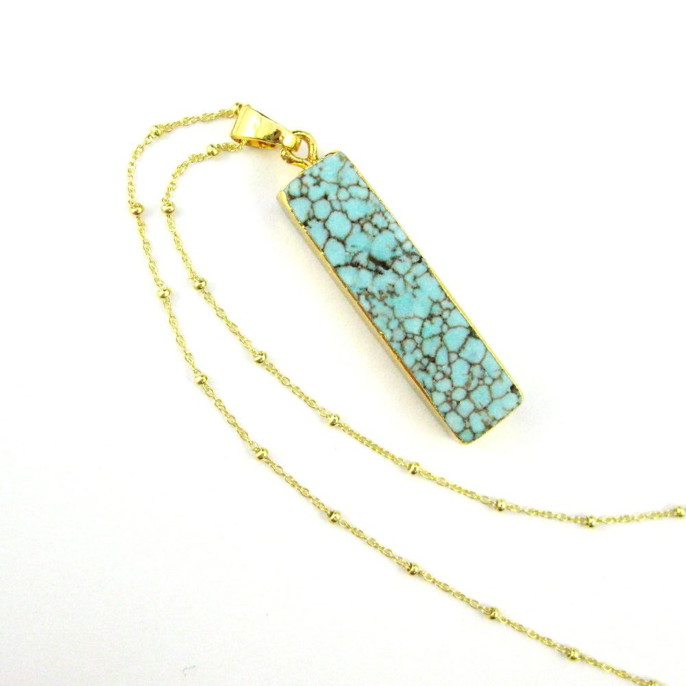 Turquoise Bar Pendant Necklace -Long Veiny Turquoise Bar and Gold Necklace - Gold plated Sterling Silver Beaded Necklace Chain