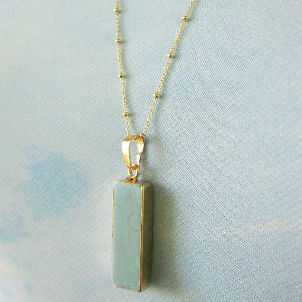 Turquoise Bar Pendant Necklace - Short Turquoise Bar and Gold Necklace - Gold plated Sterling Silver Beaded Necklace Chain