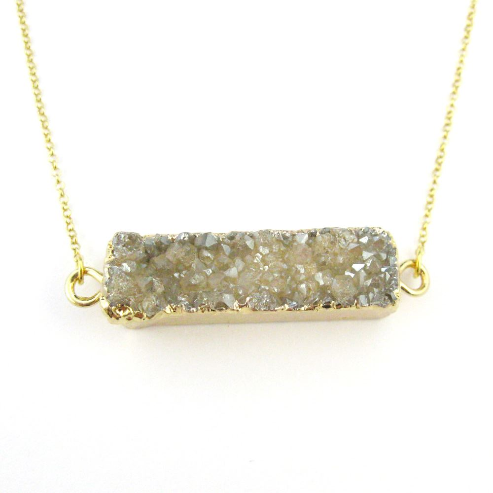 Druzy Bar Pendant Necklace - Champagne Druzy Agate -Horizontal Druzy Gemstone Bar Necklace - Gold plated Sterling Silver Necklace Chain