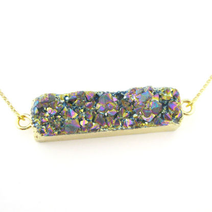 Druzy Bar Pendant Necklace - Titanium Druzy Agate -Horizontal Druzy Gemstone Bar Necklace - Gold plated Sterling Silver Necklace Chain