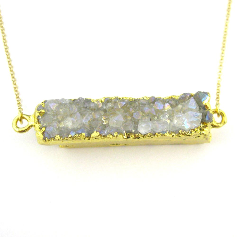 Druzy Bar Pendant Necklace - Grey Druzy Agate -Horizontal Druzy Gemstone Bar Necklace - Gold plated Sterling Silver Necklace Chain