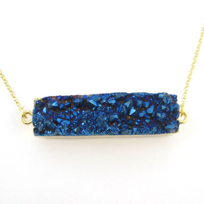 Druzy Bar Pendant Necklace - Blue Druzy Agate -Horizontal Druzy Gemstone Bar Necklace - Gold plated Sterling Silver Necklace Chain