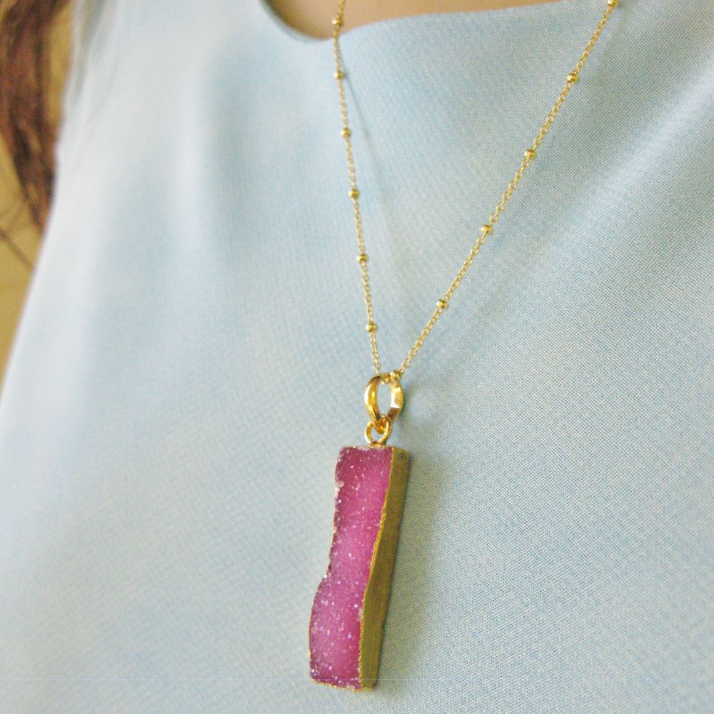 Druzy Gem Bar Pendant Necklace - Pink Druzy - Druzzy Agate Small Bar and Gold Necklace - Gold plated Sterling Silver Beaded Necklace Chain
