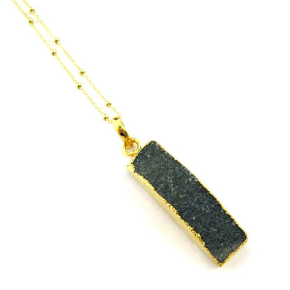 Druzy Gem Bar Pendant Necklace - Black Druzy - Druzzy Agate Small Bar and Gold Necklace - Gold plated Sterling Silver Beaded Necklace Chain