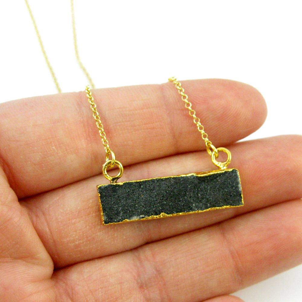 Druzy Gem Bar Pendant Necklace -Black Druzy - Druzzy Agate Small Horizontal Connector Bar - Gold plated Sterling Silver Necklace Chain