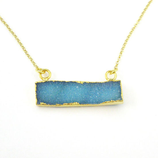 Druzy Gem Bar Pendant Necklace -Blue Druzy - Druzzy Agate Small Horizontal Connector Bar - Gold plated Sterling Silver Necklace Chain