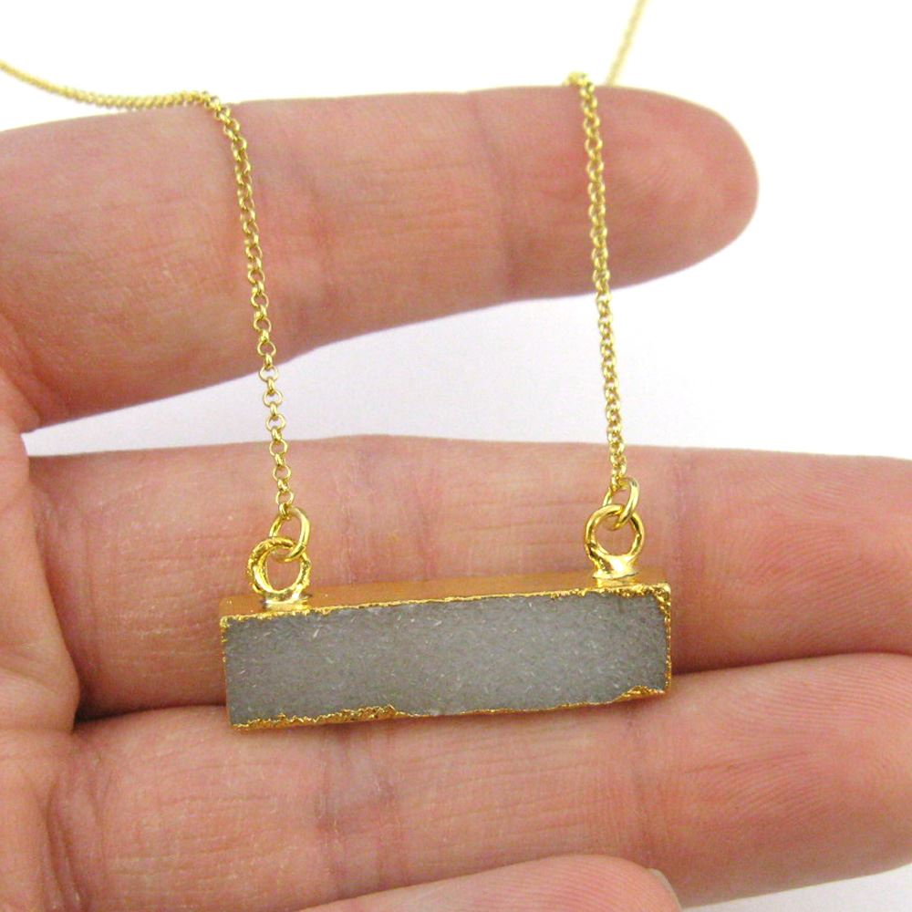 Druzy Gem Bar Pendant Necklace -Grey Druzy - Druzzy Agate Small Horizontal Connector Bar - Gold plated Sterling Silver Necklace Chain