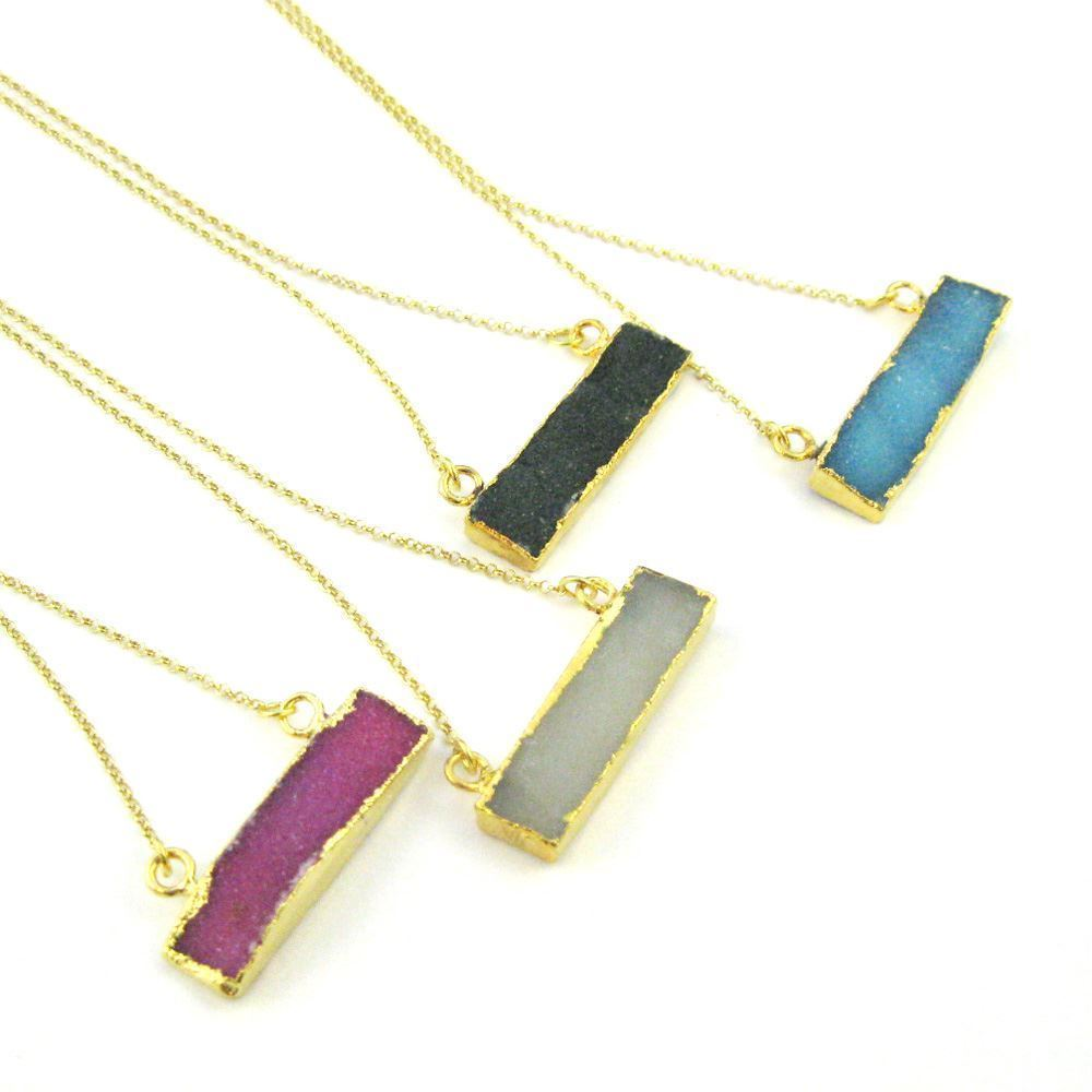 Druzy Gem Bar Pendant Necklace -Pink Druzy - Druzzy Agate Small Horizontal Connector Bar - Gold plated Sterling Silver Necklace Chain
