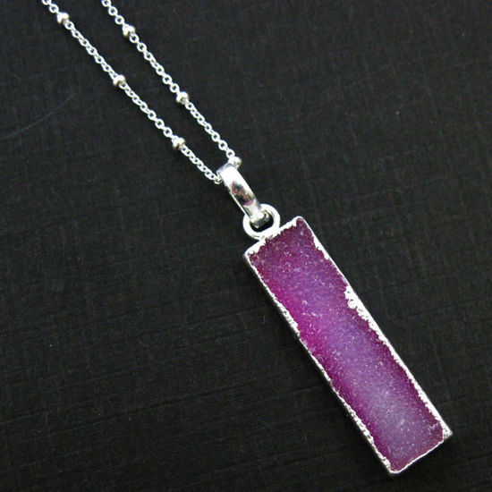 Druzy Gem Bar Pendant Necklace - Pink Druzy - Druzzy Agate Small Bar and Sterling Silver Necklace - Sterling Silver Beaded Necklace Chain