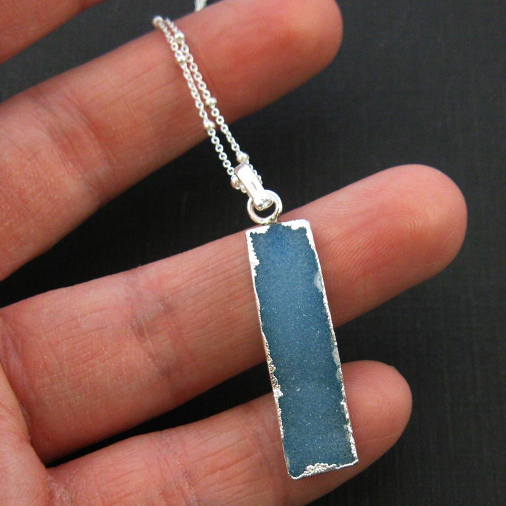Druzy Gem Bar Pendant Necklace - Blue Druzy - Druzzy Agate Small Bar and Sterling Silver Necklace - Sterling Silver Beaded Necklace Chain