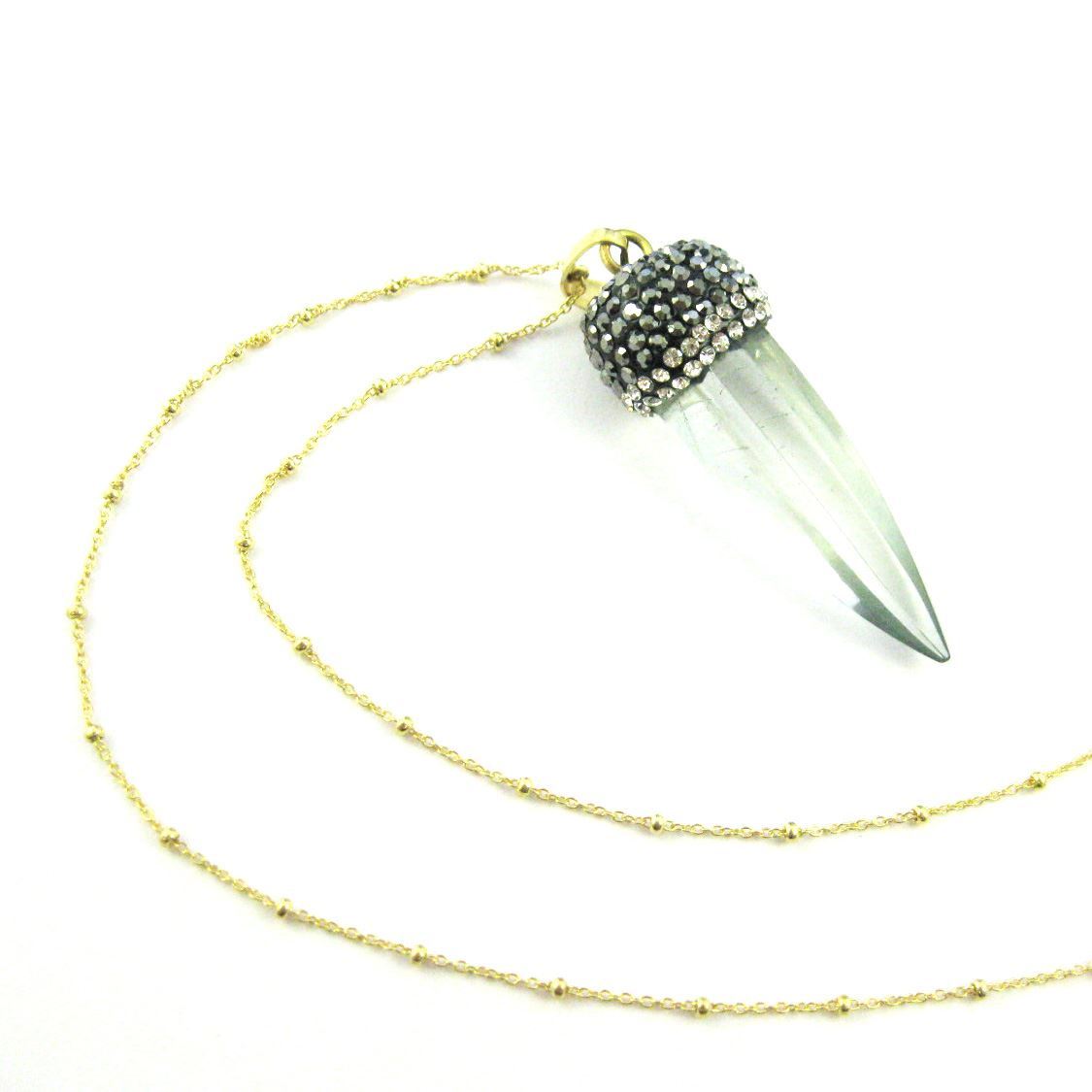 Crystal Spike Pave Necklace- Gold plated Sterling Silver Beaded Necklace Chain- Crystal Quartz Pendulum Pendant and Zircon Pave