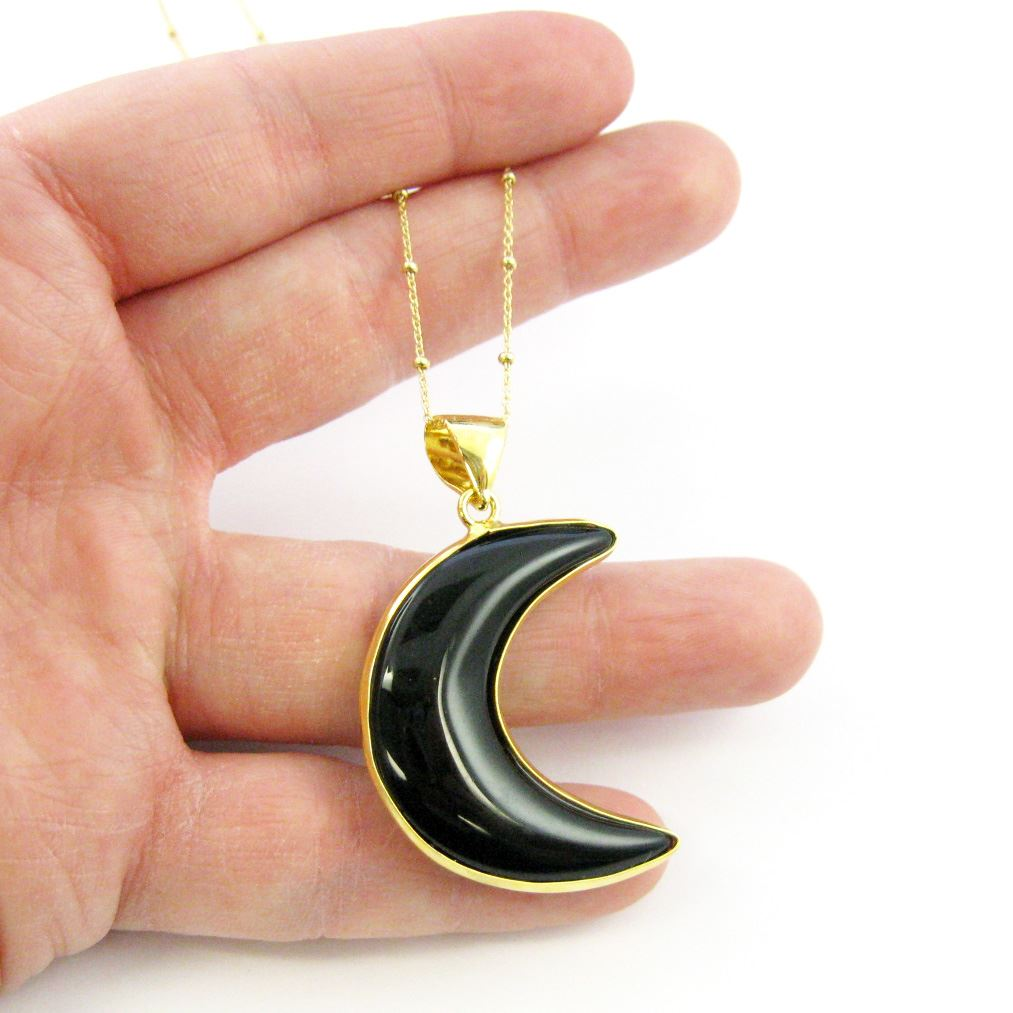 Black Agate Crescent Necklace - Natural Black Agate Crescent Moon Necklace - Gold plated Sterling Silver Beaded Necklace Chain