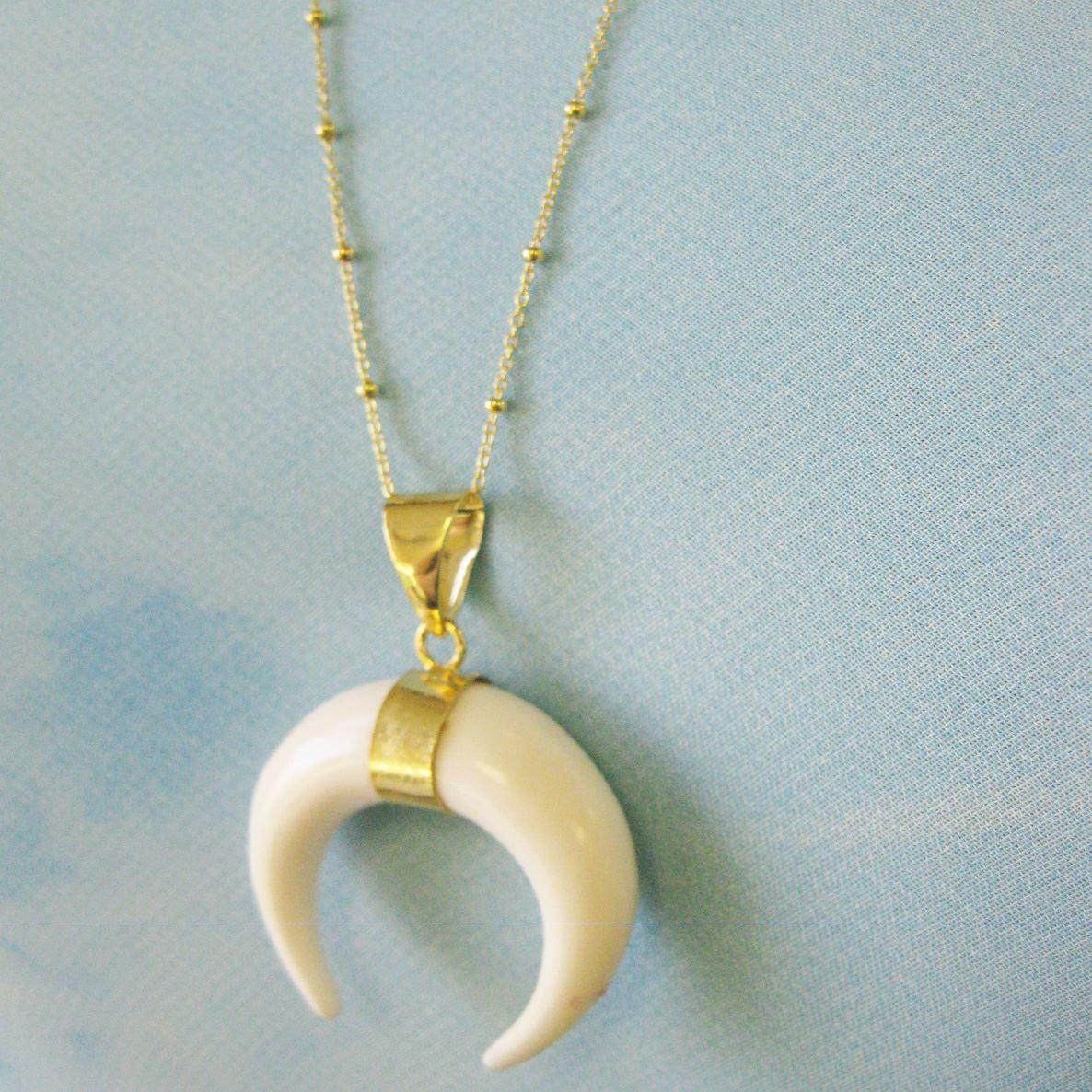 Double Horn Bone Necklace - Carved White Bone Double Tusk Necklace - Gold plated Sterling Silver Beaded Necklace Chain