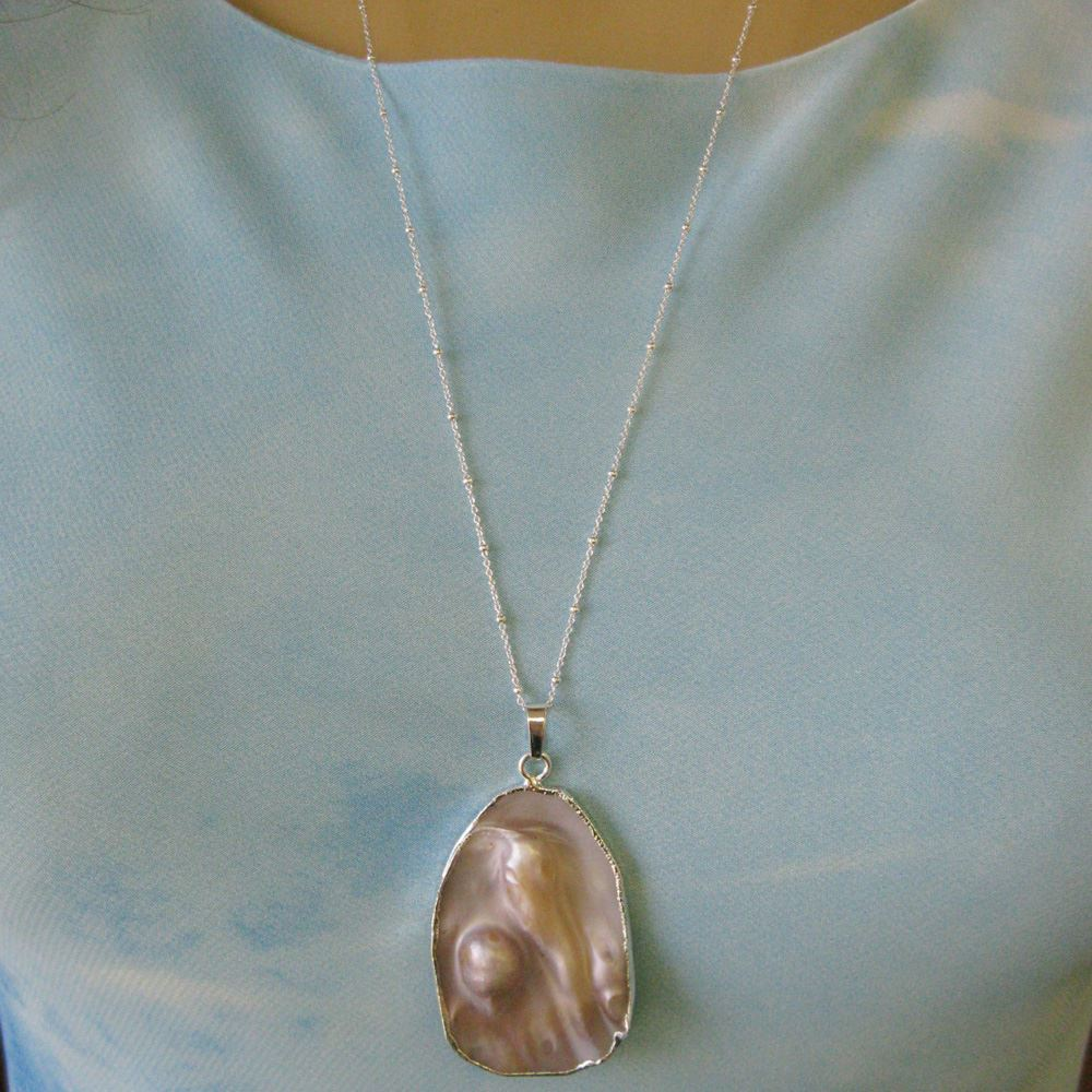 Mother of Pearl Necklace - Natural Mother of Pearl Organic Oval Necklace - Sterling Silver Beaded Necklace Chain