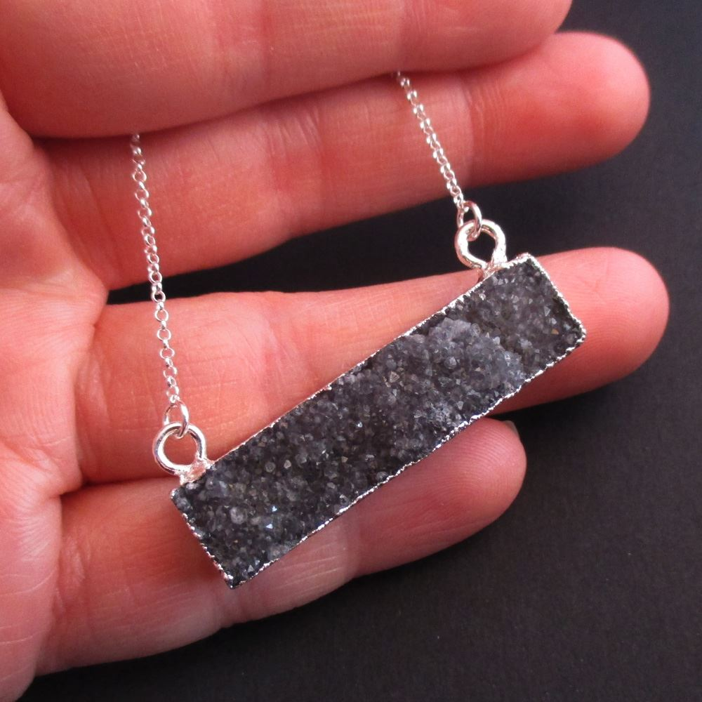 Druzy Gem Bar Pendant Necklace - Black Druzy - Druzzy Agate Horizontal Bar and Silver Necklace - Sterling Silver Necklace Chain