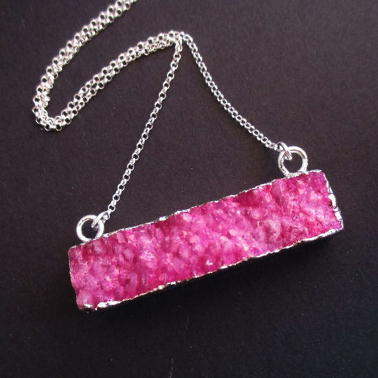 Druzy Gem Bar Pendant Necklace - Pink Druzy - Druzzy Agate Horizontal Bar and Silver Necklace - Sterling Silver Necklace Chain