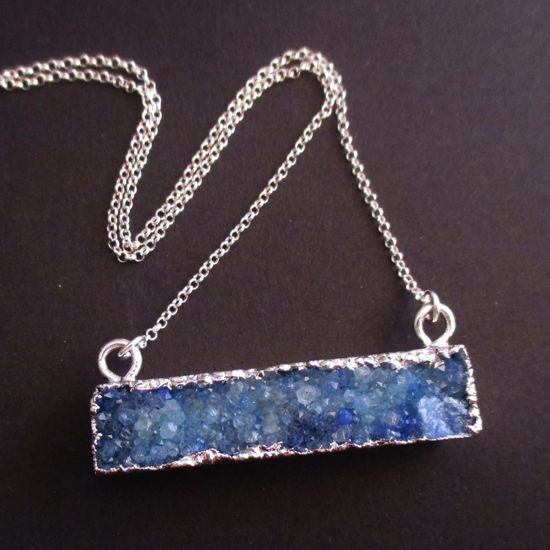 Druzy Gem Bar Pendant Necklace - Blue Druzy - Druzzy Agate Horizontal Bar and Silver Necklace - Sterling Silver Necklace Chain