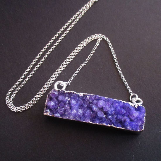 Druzy Gem Bar Pendant Necklace - Purple Druzy - Druzzy Agate Horizontal Bar and Silver Necklace - Sterling Silver Necklace Chain