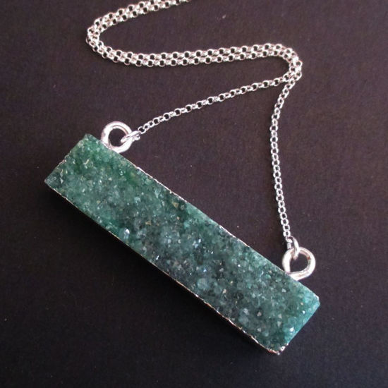 Druzy Gem Bar Pendant Necklace - Green Druzy - Druzzy Agate Horizontal Bar and Silver Necklace - Sterling Silver Necklace Chain